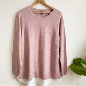 Hilary Radley Blush Knit Sweater Cotton Blend XXL
